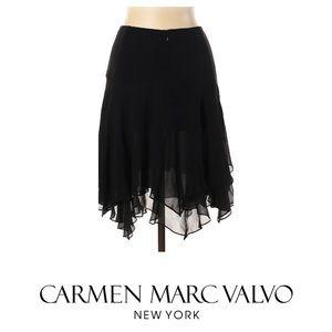 Carmen Marc Valvo Silk Black Skirt SZ.4